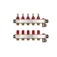 Danfoss коллектор из нержавеющей SSM-F стали с расходомерами, 5 контуров