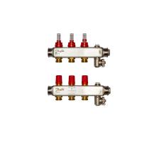 Danfoss коллектор из нержавеющей SSM-F стали с расходомерами, 3 контура
