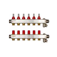 Danfoss коллектор из нержавеющей SSM-F стали с расходомерами, 6 контуров
